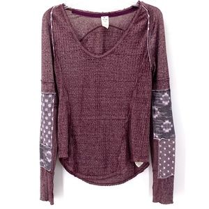 FREE PEOPLE EGGPLANT LONG SLEEVE WAFFLE KNIT TOP S